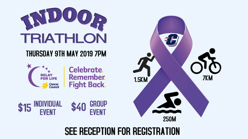 Relay For Life – Indoor Triathlon – May 9th